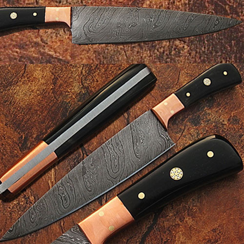 Custom Made Damascus Steel Chef Knife Buffalo Horn Handle Copper 1