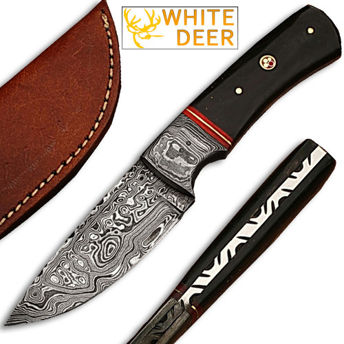 Whit Deer Damascus Steel Custom Handmade Hunting Knife Buffalo Handle