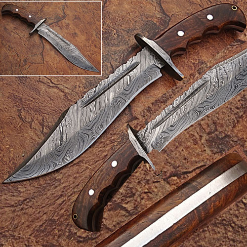 Classic Damascus Steel Blood Groove Bowie Knife w/ Rose Wood Han