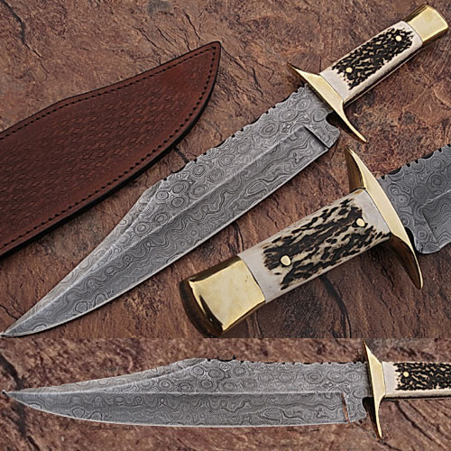 Custom Made Damascus Steel Bowie Hunting Knife w/ Stag Horn Hand