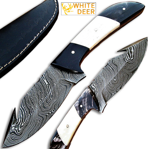 White Deer Custom Damascus Steel Skinner Knife (with Gut Hook Limited Edition