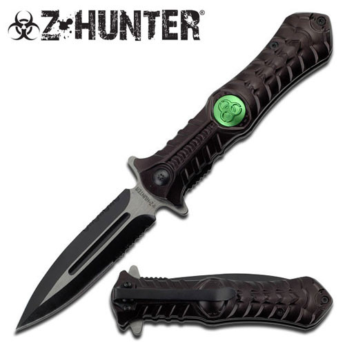 Zombie Hunting Combat Stiletto Style Spring Assisted Open .