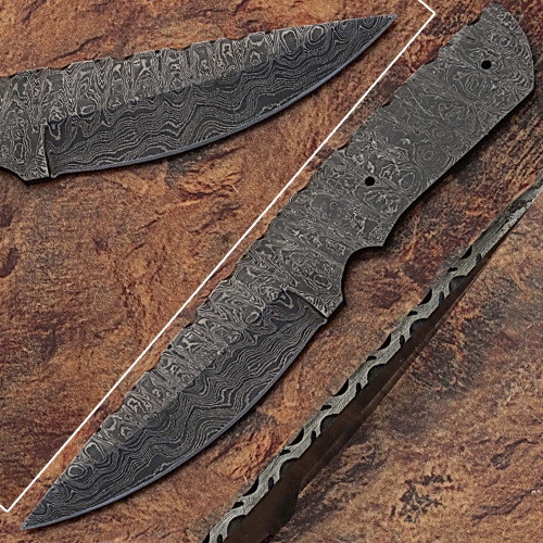 Blank Blade Damascus  Eye Bird Pattren Full Tang Skiner Knife 4