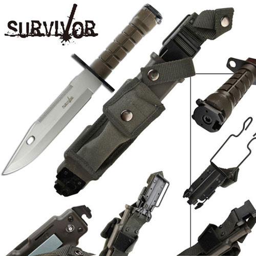 Survivor Special Ops Military Bayonet Knife Silver