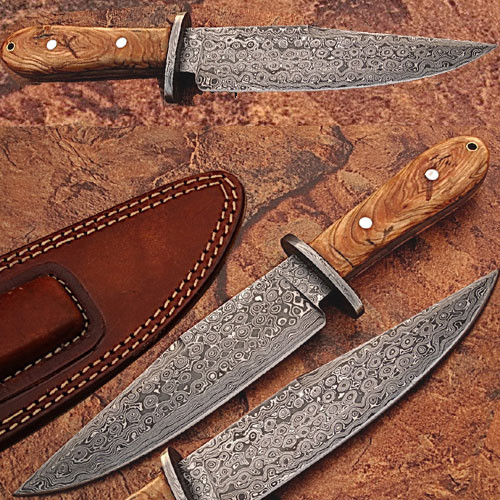 Custom Made Damascus Steel Hunting Knife w/ Olive Wood Handle 2