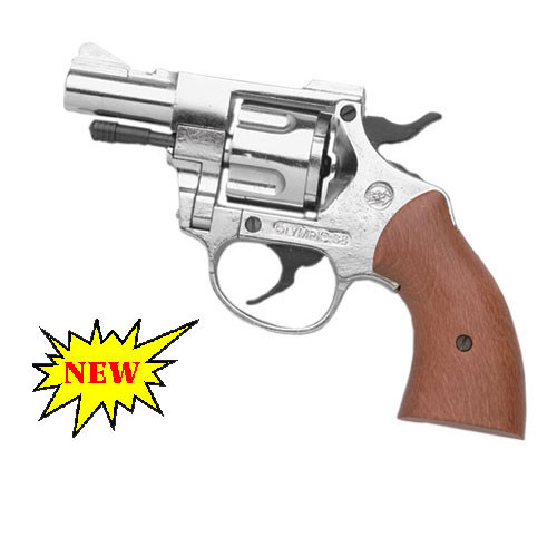 Nickel Finish Olympic 9mm Blank Firing Revolver