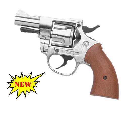 Nickel Finish Olympic 9mm Blank Firing Revolver