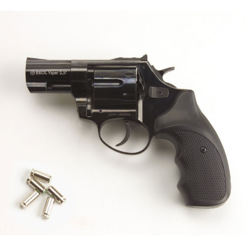 Viper 2.5 Barrel 9mm Blank Firing Revolver Black Finish
