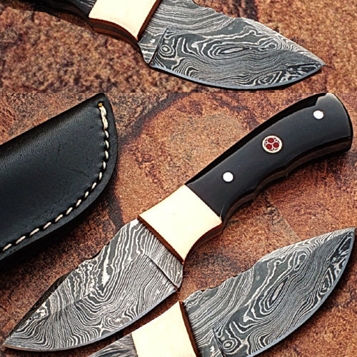 Custom Made Damascus Skinner Knife w/ Full Tang Buffalo Horn Han