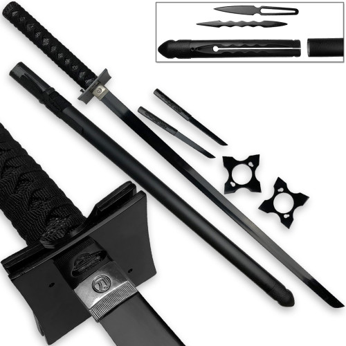 Ultimate Warrior Ninja Straitblade Katana Set All Black