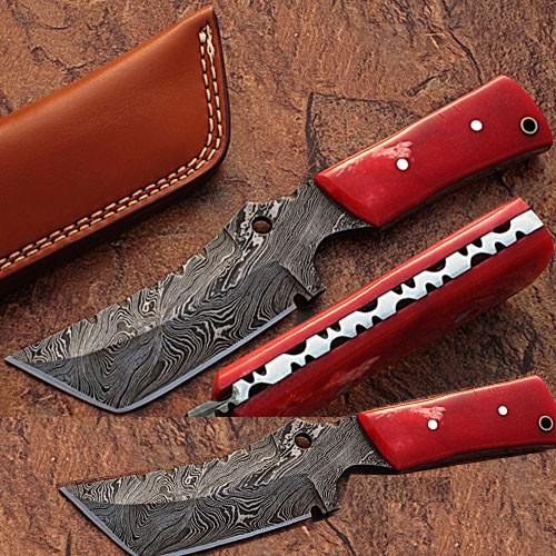 Damascus Steel Limited Edition  Knife w/ Camel Bone.