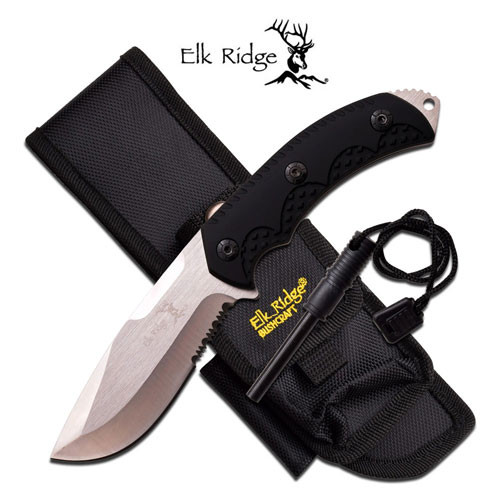 Elk Ridge Full Tang Fixed Blade Knife & Fire Starter Black