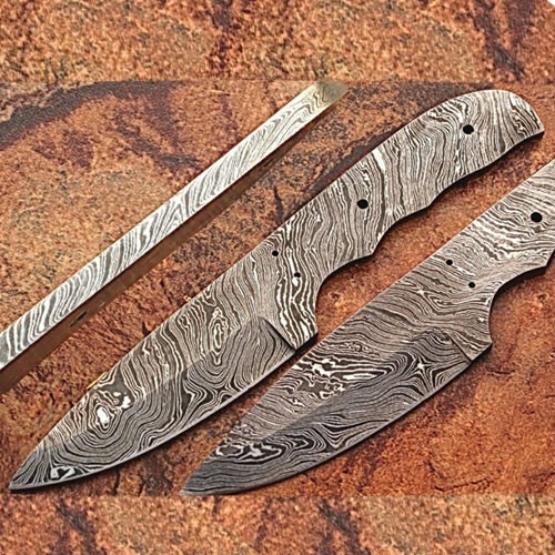 Custom FULL DAMASCUS Steel Militia-cut Knife (Blank Blade) 9.25in 1095 Steel