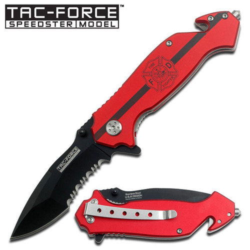 Red Handle Rescue Assisted Opening Knife - Fire Fighter