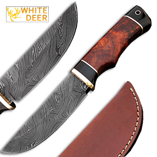Whit Deer Rebel Komrad Damascus Knife Custom Walnut Hardwood Handle