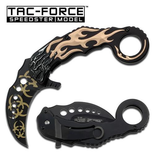 Karambit Style Tan Flaming Skull Handle Assisted Opening Knife