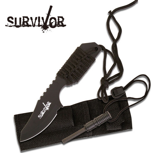 Survival Fire Starter Hunting Camping Knife w/ Flint Black Full