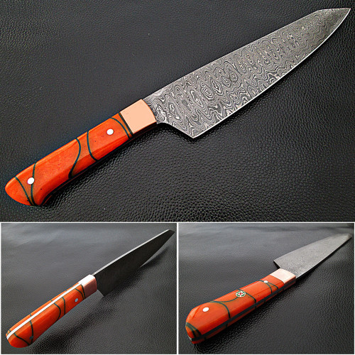 Solid Resin Grip Santoku Forged Chef Knife
