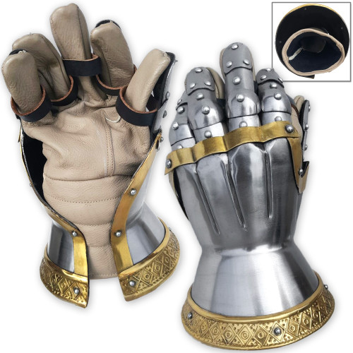 Churberg Hourglass Armor Gauntlets Brass Plated