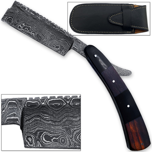 White Deer Damascus Steel Straight Razor
