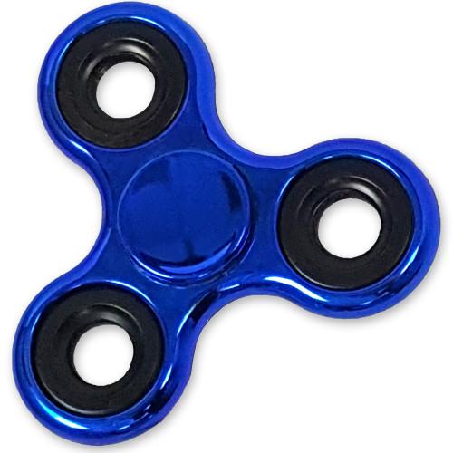 Shiny Blue Metallic Color Fidget Tri-Spinner