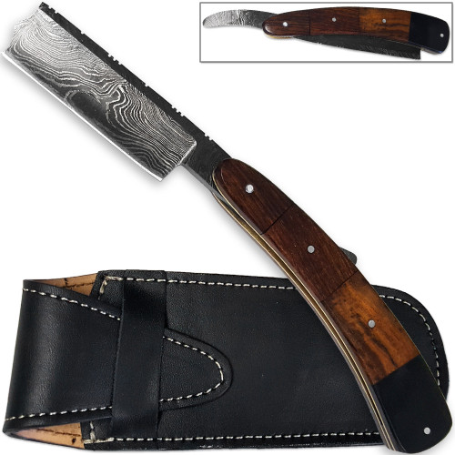 White Deer Damascus Steel Ultra Sharp Straight Razor