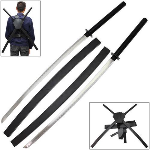Deadpool Dual Two Ninja Swords with Wood Saya's & X-Harness