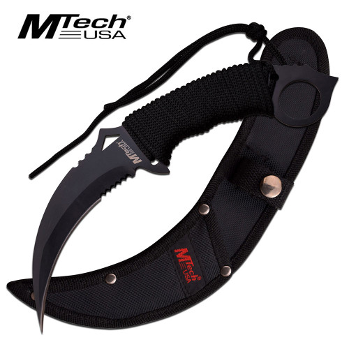 MTech FIXED-BLADE TACTICAL KNIFE | Black Blade Paracord Serrated Combat Karambit