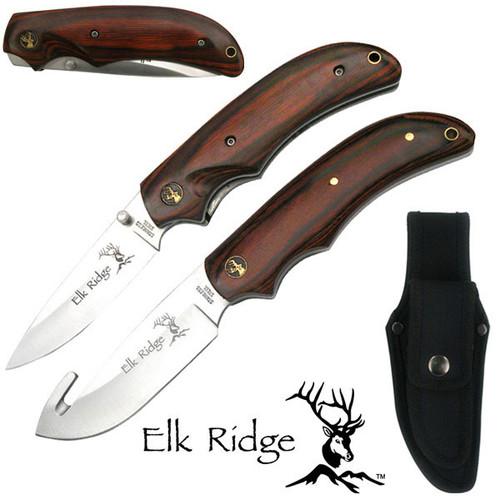 Elk Ridge ER-013 COMBO KNIFE SET 2 PIECE SET Folding & Full Tang Guthook