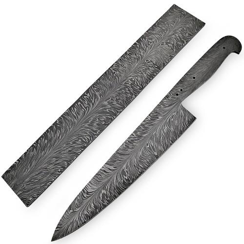 White Deer Damascus Steel Billet Feather Pattern Welded