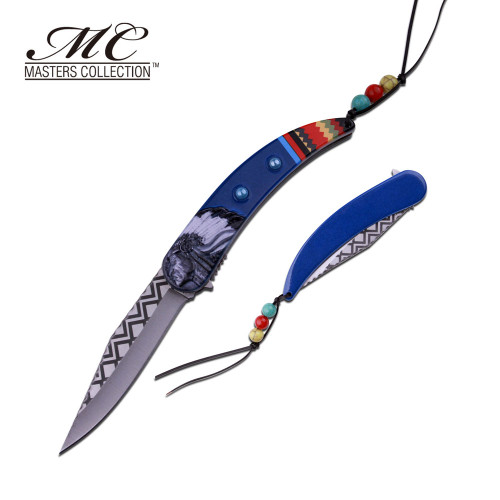 MC MASTERS COLLECTION American Indian Styled Blue Spring Assisted Knife
