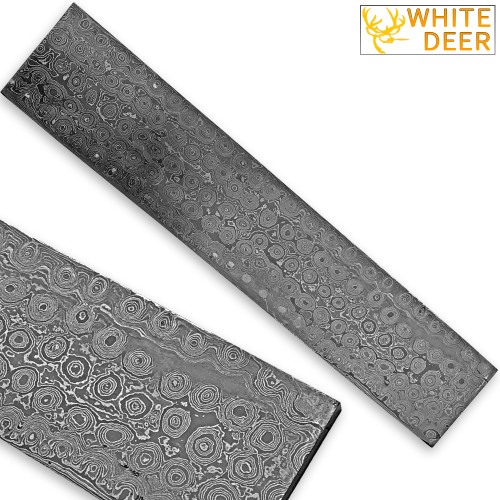 White Deer BIRDS EYE PATTERN Damascus Steel Billet