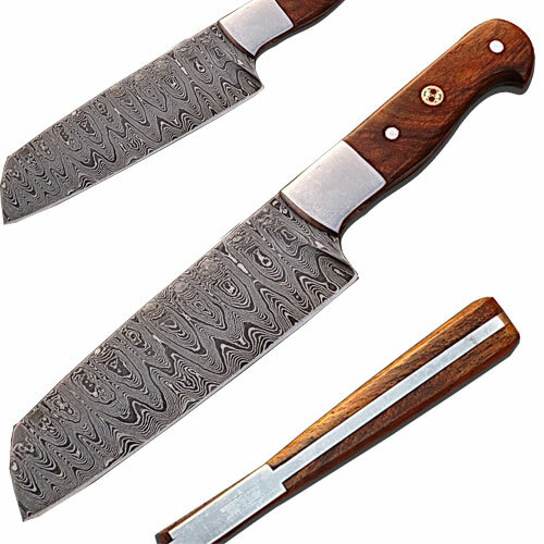 Custom Handmade Damascus Chef Knife Tanto Walnut Wood Handle