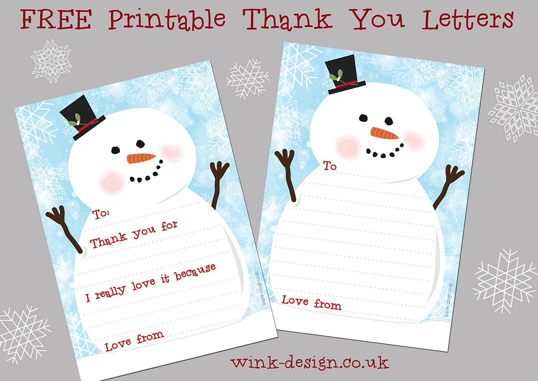 Free Printable Snowman Christmas Thank You letters - Wink Design