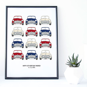 Personalised Mini Cooper Car Print  - red cream and blue