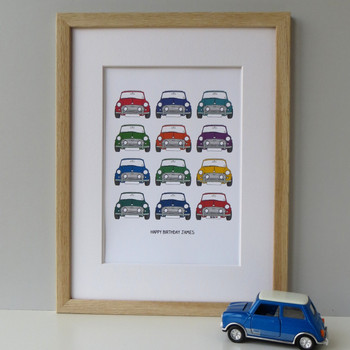 Personalised Mini Cooper Car Print - framed - multicoloured