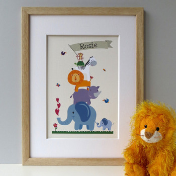 Personalised Children's Animal Nursery Print - framed