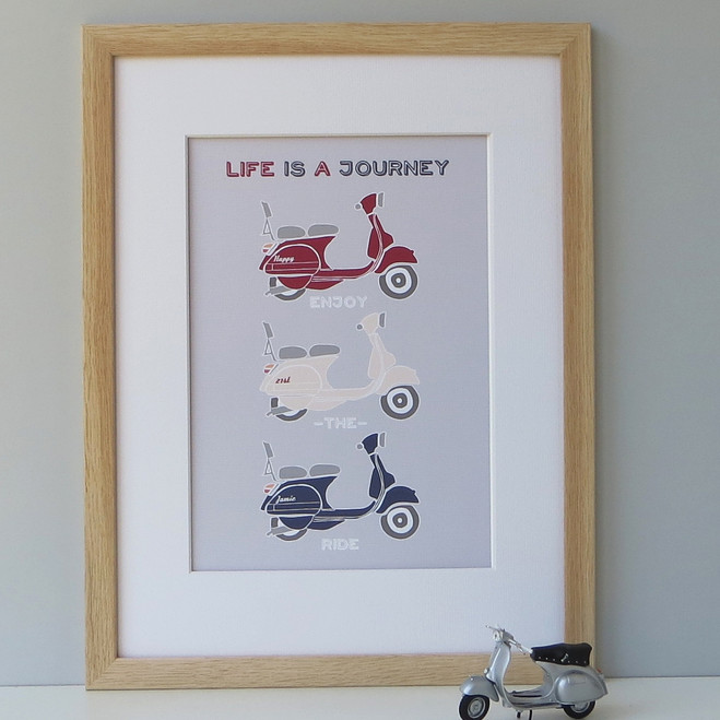 Personalised Retro Vespa Scooter Print - Red Cream and Blue - Framed