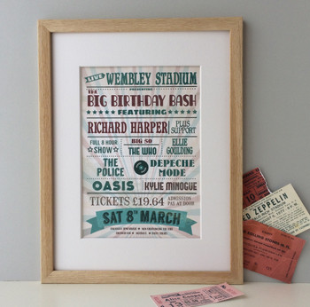 Personalised Music Lovers Birthday / Wedding Print - framed