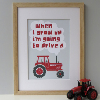 'When I Grow Up' Tractor Print - Red - Framed