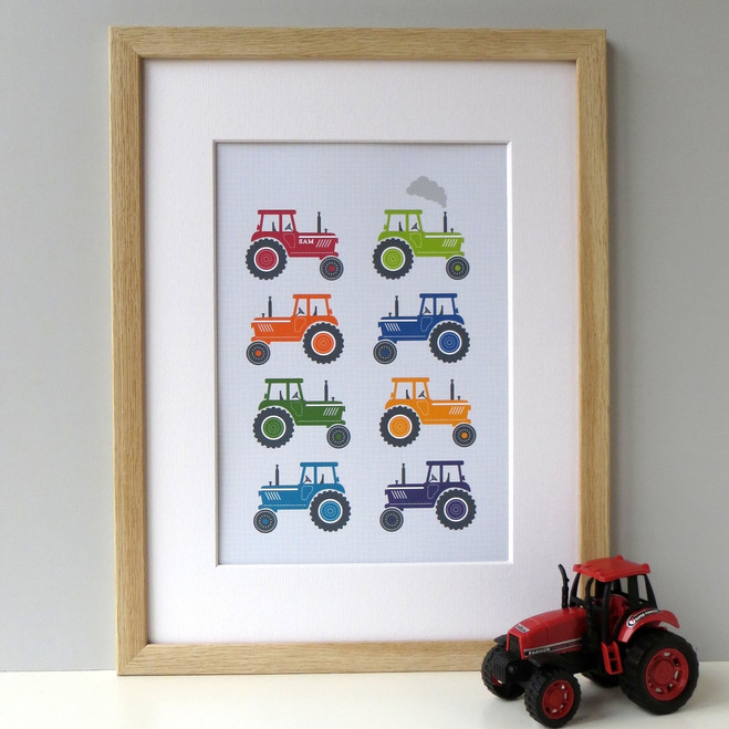 Personalised Bright Tractors Art Print - framed