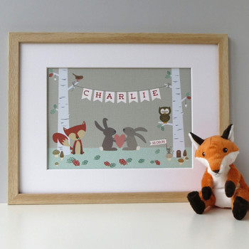 Personalised Woodland Animal Print - Framed