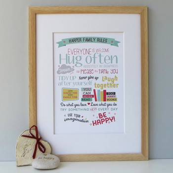 Personalised Family Rules Print - framed