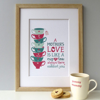Personalised 'A Mother's Love' Gift Print - Framed - Pink/Green