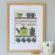 Personalised Tea And Biscuit Family Print - six cup example - green - framed