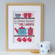 Personalised Tea And Biscuit Family Print - five cup example - cranberry/blue - framed