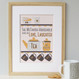 Personalised Tea And Biscuit Family Print - four cup example - yellow/grey - framed