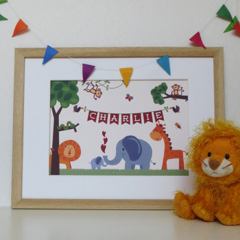 Personalised Children's Jungle Animal Print - framed