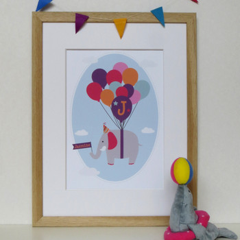 Personalised Children's Elephant Print - framed