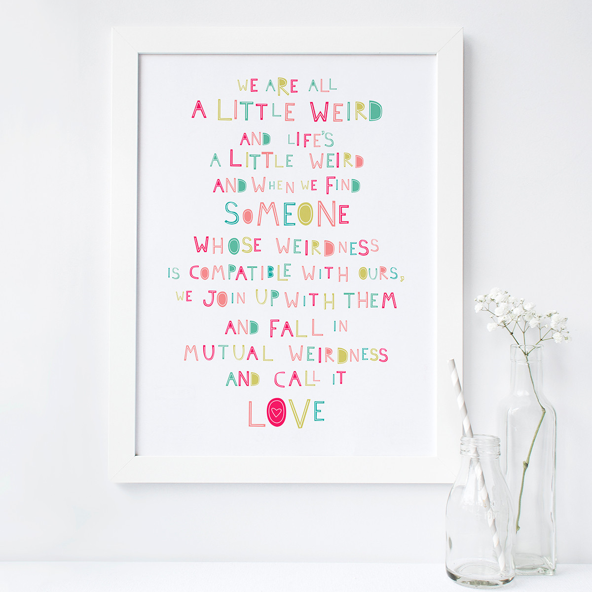 Dr Seuss Weird Love Quote Poster Personalised 'we Are All A Little Weird' Love Print